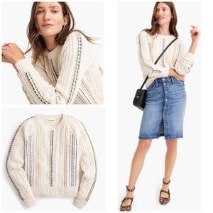 EUC The Reeds x J. Crew Rainbow Cable-knit Sweater